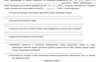 Как оформить возврат товара поставщику документы: образец
