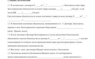 Договор залога оборудования между юридическими лицами